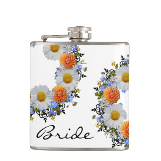 Wreath Daisy Flowers Floral Vector Orange Flasks