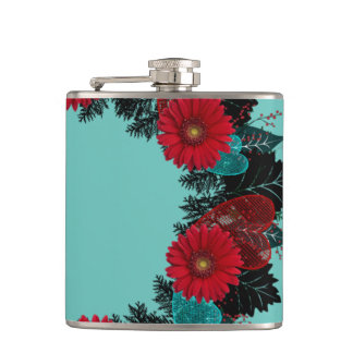 "Wreath ""Daisy Heart"" Red Flowers Hearts Flask"