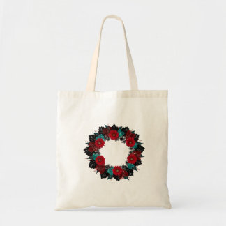 """Wreath """"Daisy Heart"""" Red Flowers Hearts Tote Bag"""
