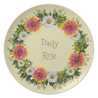 "Wreath ""Daisy Rose"" Flowers Floral Melamine Plate"