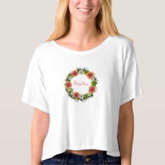 "Wreath ""Daisy Rose"" Flowers Floral T-Shirt"