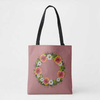 """Wreath """"Daisy Rose"""" Flowers Floral Tote Bag"""