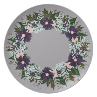 "Wreath ""Dark Purple"" Flowers Floral Melamine Plate"