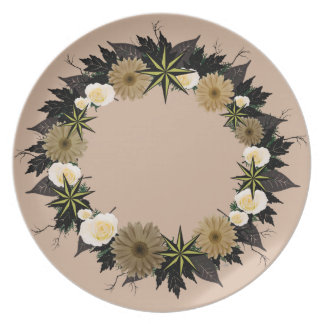 "Wreath ""Dark Star"" Brown Flowers Melamine Plate"