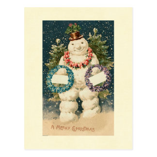 Wreath Decorated Snowman Postcard