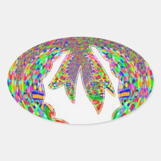 Wreath Diamond Jewel Pattern by Navin Oval Sticker