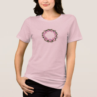 Wreath Dolly Peppermint Flowers Floral Vector Pink T-Shirt