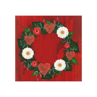 """Wreath """"Doodly Hearts"""" Red Flowers Canvas Print"""
