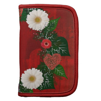 """Wreath """"Doodly Hearts"""" Red Flowers Folio Planner"""