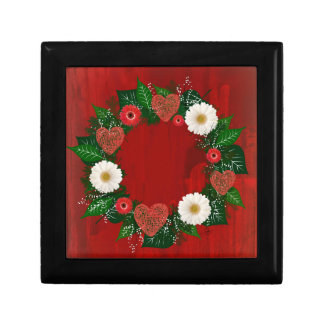 "Wreath ""Doodly Hearts"" Red Flowers Jewelry Box"