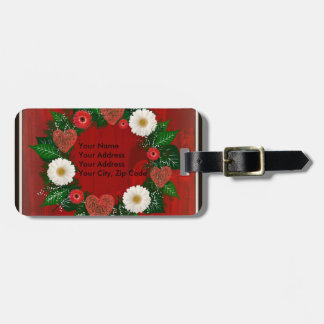 """Wreath """"Doodly Hearts"""" Red Flowers Luggage Tag"""