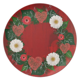 "Wreath ""Doodly Hearts"" Red Flowers Melamine Plate"