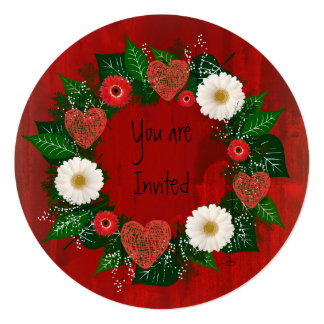 """Wreath """"Doodly Hearts"""" Red/White Flower Invitation"""