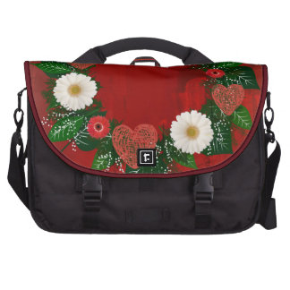 """Wreath """"Doodly Hearts"""" Red/White Flower Laptop Bag"""