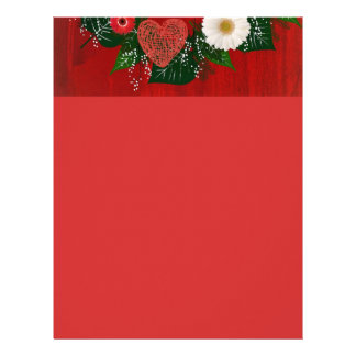 """Wreath """"Doodly Hearts"""" Red/White Flower Letterhead"""