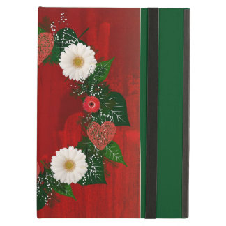 """Wreath """"Doodly Hearts"""" Red/White Flowers iPad Case"""