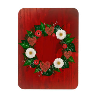 """Wreath """"Doodly Hearts"""" Red/White Flowers Magnet"""