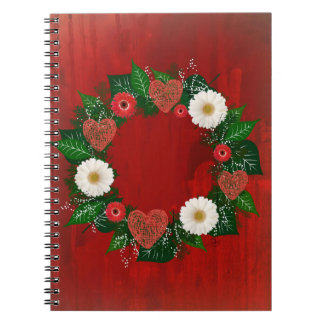 """Wreath """"Doodly Hearts"""" Red/White Flowers Notebook"""