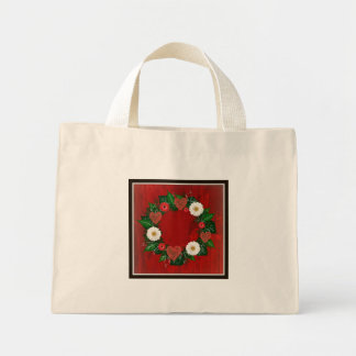 """Wreath """"Doodly Hearts"""" Red/White Flowers Tote Bag"""