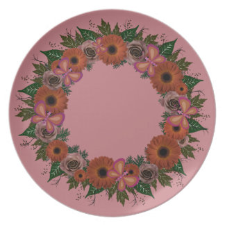 "Wreath ""Dusty Butterfly"" Flowers Melamine Plate"