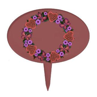 """Wreath """"Dusty Heart"""" Purple Flower Heart Cake Pick"""