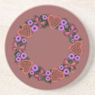 "Wreath ""Dusty Heart"" Purple Flowers Heart Coasters"