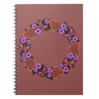 "Wreath ""Dusty Heart"" Purple Flowers Heart Notebook"