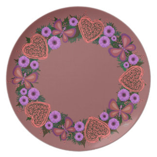 "Wreath ""Dusty Heart"" Purple Flowers Melamine Plate"
