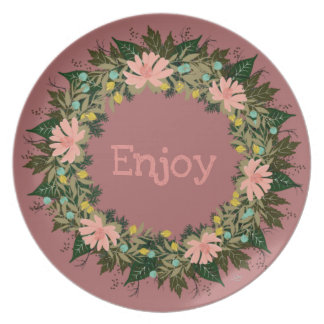 "Wreath ""Enjoy"" Flowers Floral Melamine Plate"