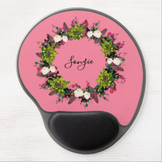 "Wreath ""Fab Cab"" Flowers Floral Mousepad"
