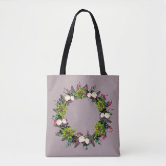 """Wreath """"Fab Cab"""" Flowers Floral Tote Bag"""
