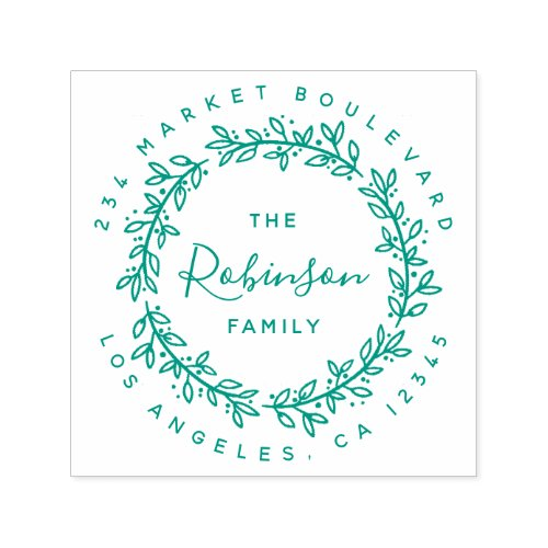 Wreath Family Name Calligraphy Return Address Self_inking Stamp