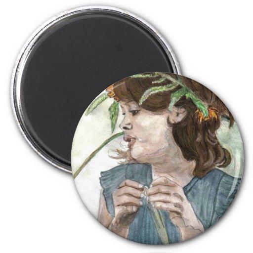 Wreath Girl 2 Inch Round Magnet