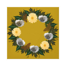 """Wreath """"Gold Butterfly"""" Gray Roses Canvas Print"""