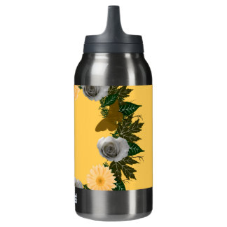 "Wreath ""Gold Butterfly"" Peach Flowers/Gray Insulated Water Bottle"