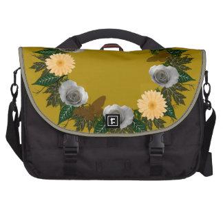 "Wreath ""Gold Butterfly"" Peach Flowers Laptop Bag"
