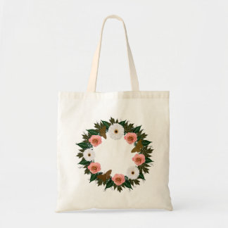 """Wreath """"Gold Butterfly"""" Pine/White Flower Tote Bag"""
