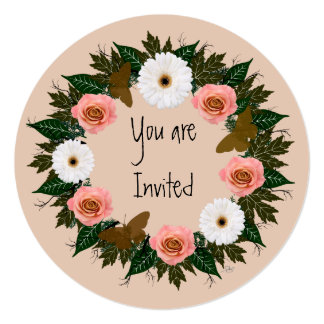 """Wreath """"Gold Butterfly"""" Pink Flowers Invitation"""