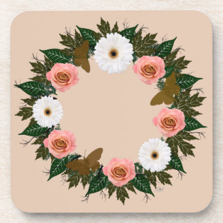 """Wreath """"Gold Butterfly"""" Pink/White Flower Coasters"""