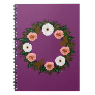 """Wreath """"Gold Butterfly"""" Pink/White Flower Notebook"""