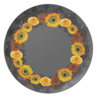 "Wreath ""Golden Orange"" Or. Flowers Melamine Plate"