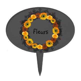 "Wreath ""Golden Orange"" Orange Flowers Cake Pick"