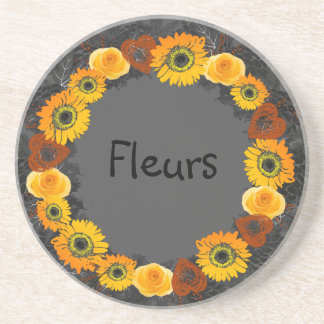 "Wreath ""Golden Orange"" Orange Flowers Coasters"