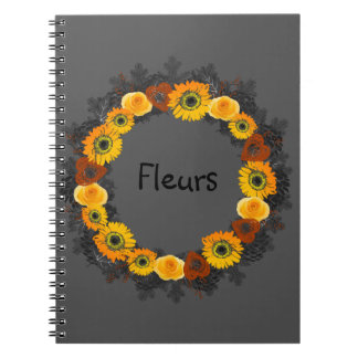 "Wreath ""Golden Orange"" Orange Flowers Notebook"