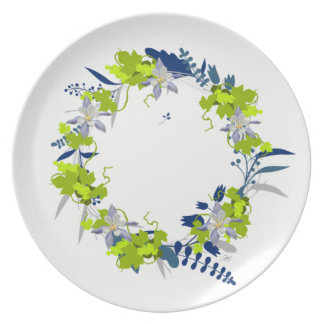"Wreath ""Grape Love"" Flowers Floral Melamine Plate"