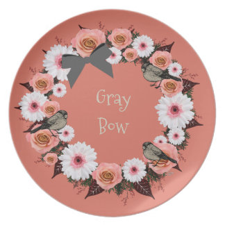 "Wreath ""Gray Bow"" Flowers Floral Melamine Plate"