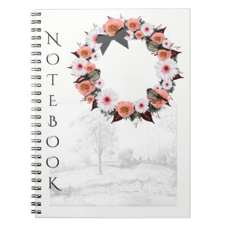 "Wreath ""Gray Bow"" Flowers Floral Notebook"