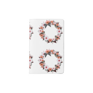 "Wreath ""Gray Bow"" Flowers Floral Pocket Notebook"