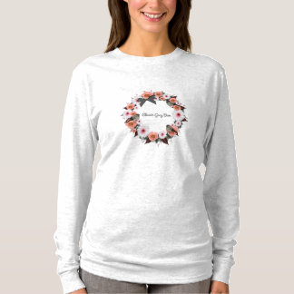 "Wreath ""Gray Bow"" Flowers Floral Sleeve T-Shirt"