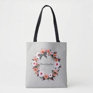 """Wreath """"Gray Bow"""" Flowers Floral Tote Bag"""